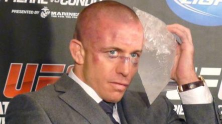 GSP ices his face after his fight in UFC 154